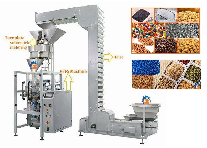 Volumetric Cup Vertical Form Fill Seal Machine For Lentils / Sugar